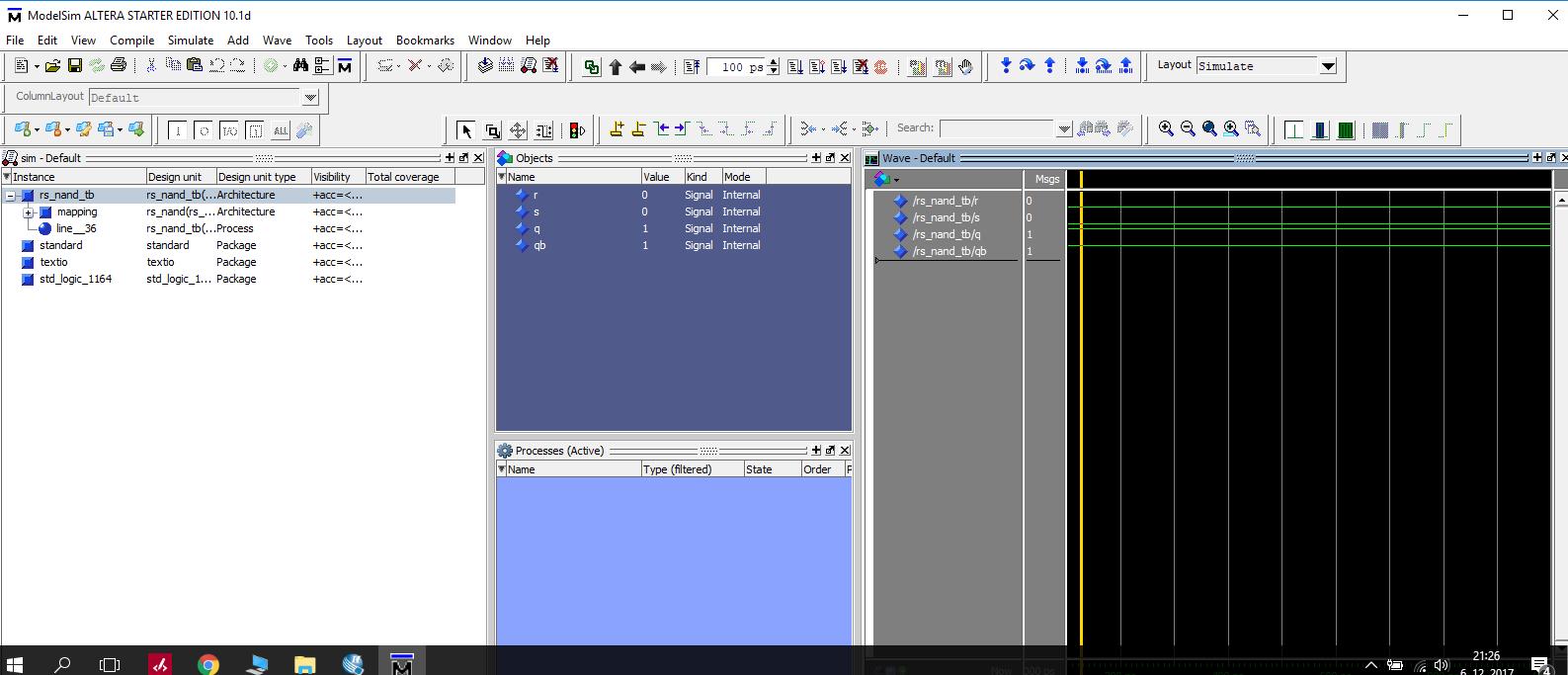 VHDL code for Rnon Snon (NAND) Flip flop - EmbDev net